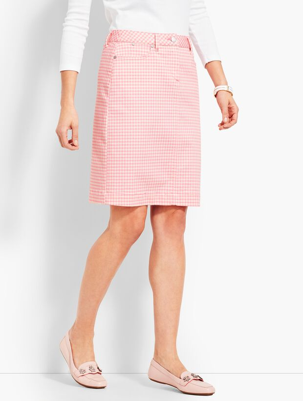 Denim Pencil Skirt - Gingham