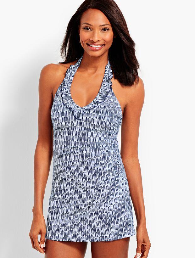 Scallop Stripes Ruffle-Halter Swim Dress