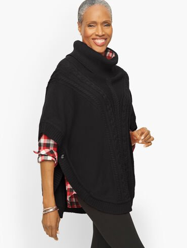 Cable Knit Round Poncho