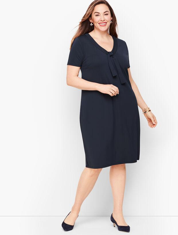 Knit Jersey Tie Neck Shift Dress