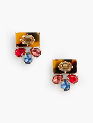 Colorful Tort and Crystal Earrings