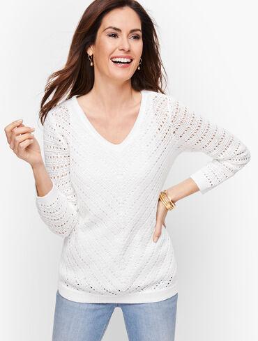 Hand Crocheted V-Neck Sweater