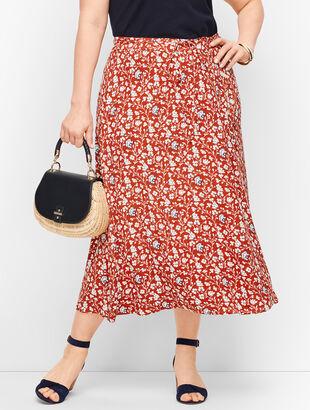 Floral & Vines Wrap Midi Skirt