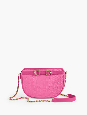 Croc-Embossed Leather Crossbody Bag