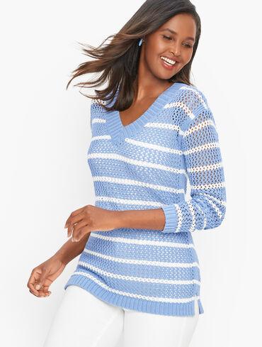 Open Weave V-Neck Sweater - Stripe