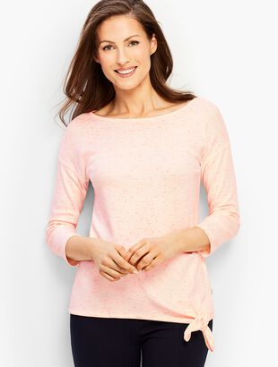 Patch-Dye Tie-Front Boatneck Top