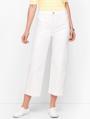 Wide Leg Crop Jeans - White