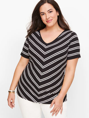 Cotton V-Neck Tee - Bias Stripe
