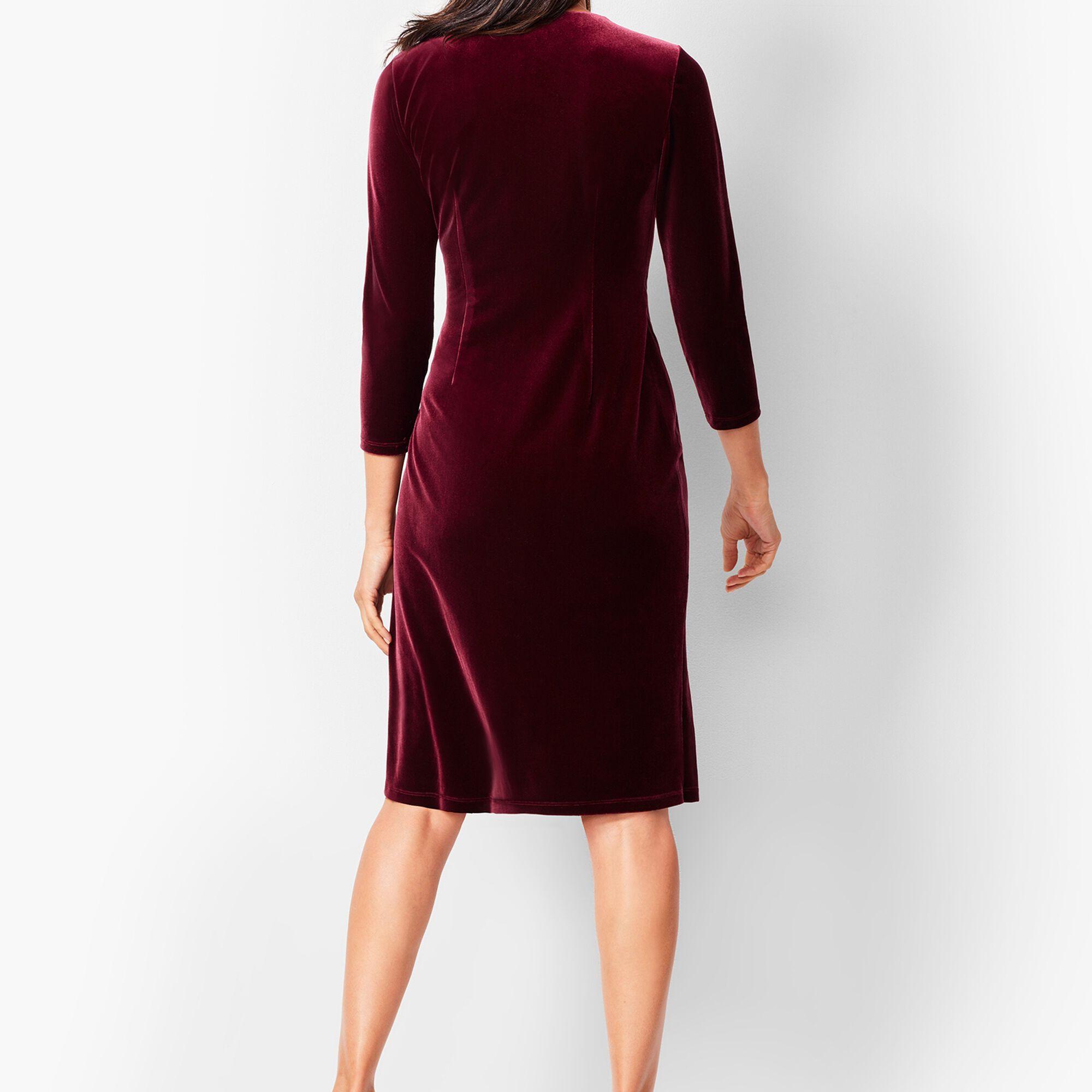 9ca23a0ad3 Velvet Faux-Wrap Sheath Dress Opens a New Window.