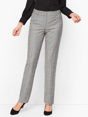 Luxe Knit Plaid Straight Leg Pants