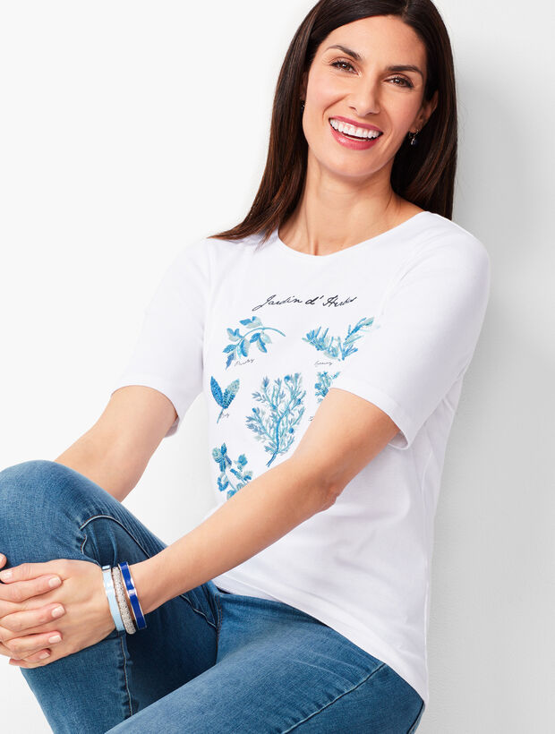 Embroidered Herb Motif Tee