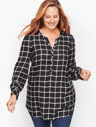 Banded Collar Popover - Indigo Plaid