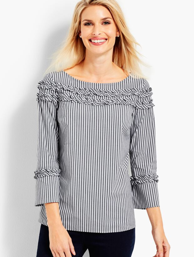 Stripe Shirred Ruffle Top