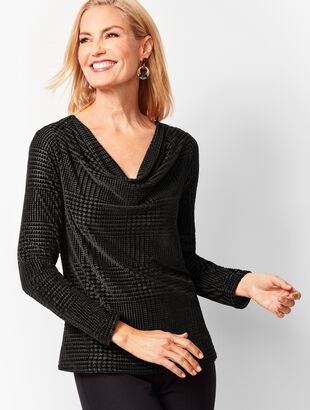 Houndstooth Velvet Burnout Cowlneck Top