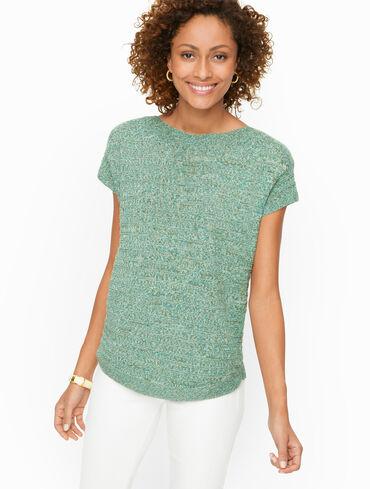 Linen Bateau Neck Pullover - Textured Stripe