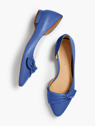 Edison Pleated dOrsay Flats - Nappa Leather