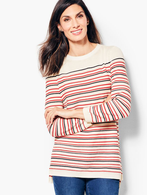 Three-Quarter-Sleeve Pointelle Pull-On Sweater - Striped