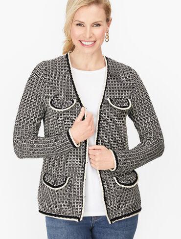 Tipped Tweed Sweater Jacket