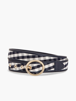 Leather-Trim Gingham Belt