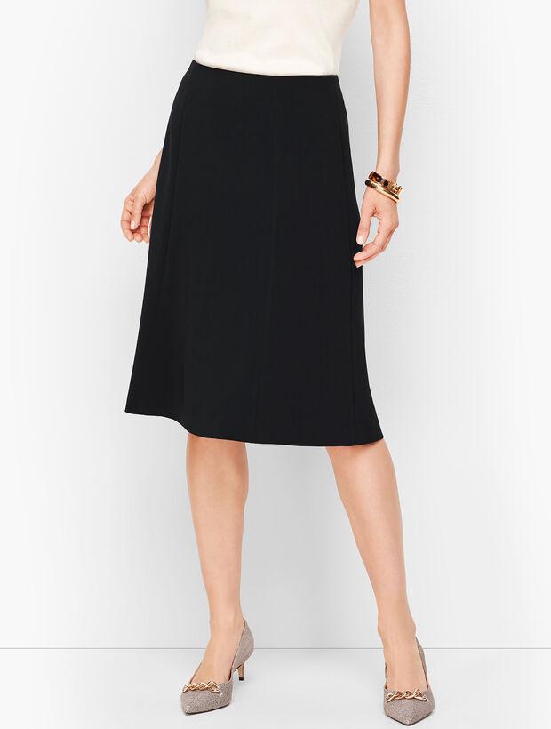 Stretch Crepe Flared Skirt