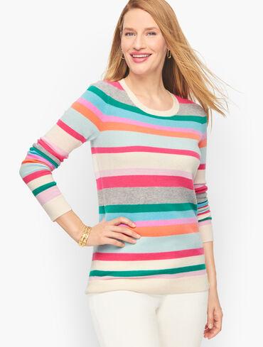 Cashmere Stripe Crewneck Sweater