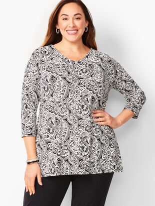 Plus-Size Knit Jersey Paisley Tunic