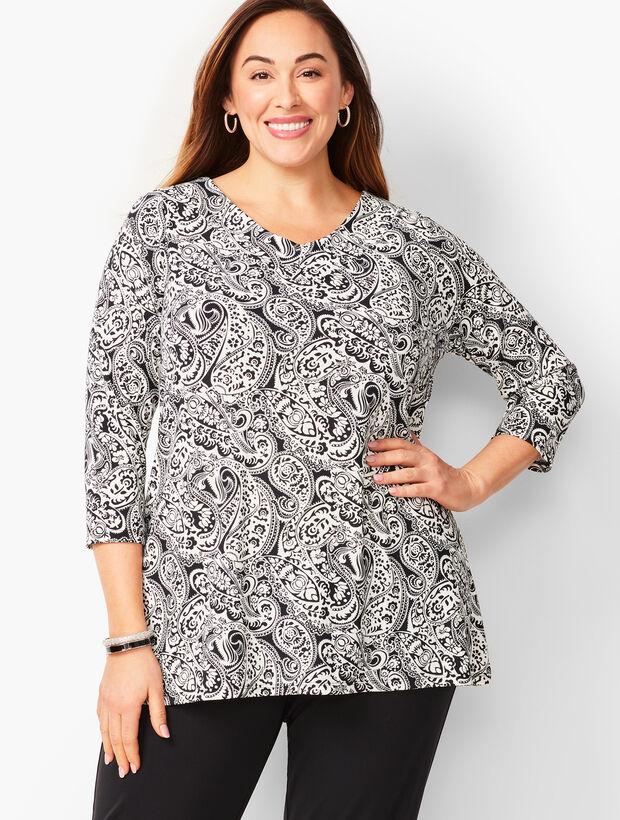 Plus-Size Knit Jersey Paisley Tunic