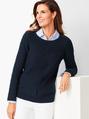 Cable Ribbed-Yoke Sweater
