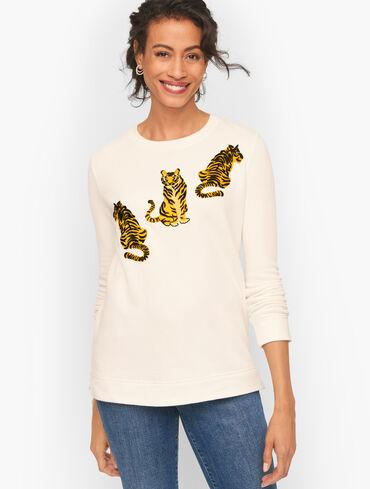 Rib Trim Crewneck Sweatshirt - Embroidered Tiger