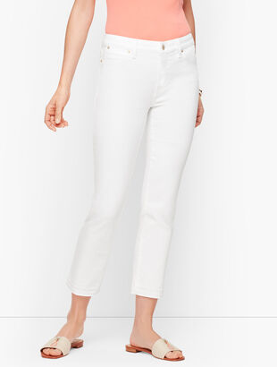 Straight Leg Crop Jeans - Dropped Hem White