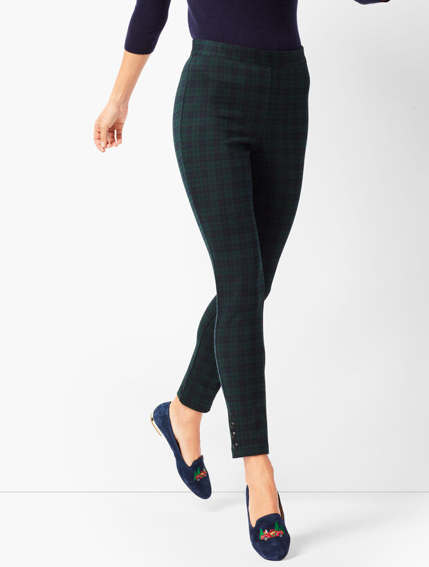 4ddc5d571d5 Ankle-Snap Ponte Leggings - Black Watch Plaid