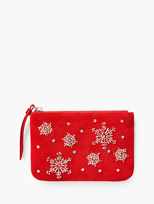 Snowflakes Embellished Zip Top Pouch