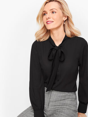 Crepe Tie Neck Top