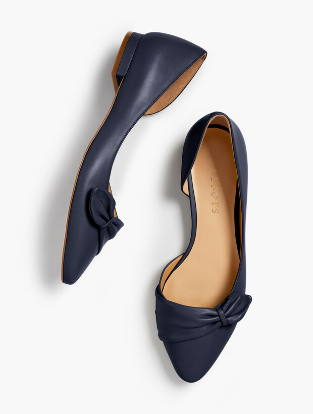 Edison Pleated d'Orsay Flats - Nappa Leather