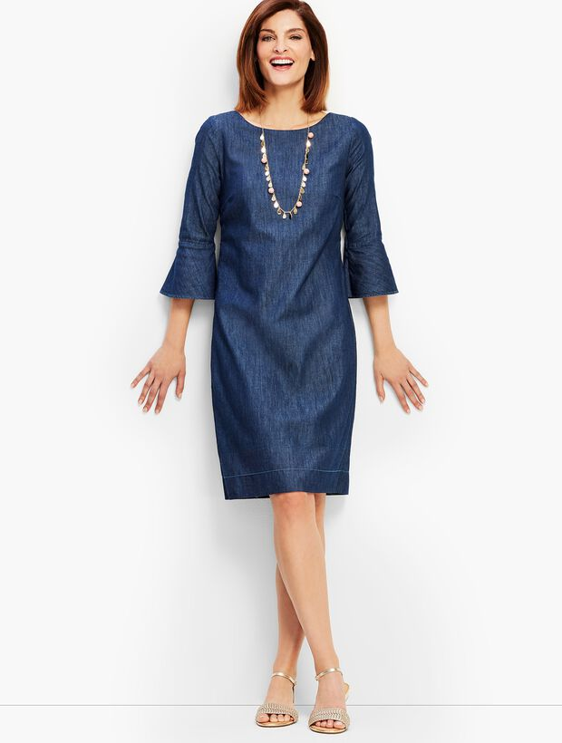 Denim Flounce-Sleeve Shift Dress
