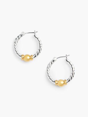 Sterling Silver Two-Tone Hoop Earrings