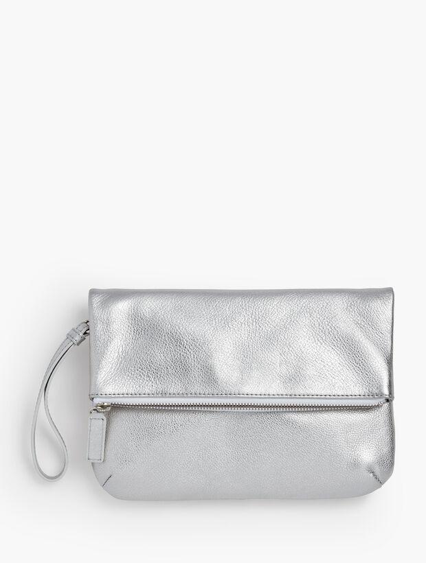 Pebbled Leather Foldover-Metallic