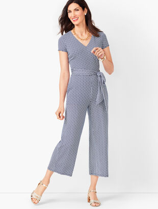 Faux-Wrap Jersey Jumpsuit - Geo