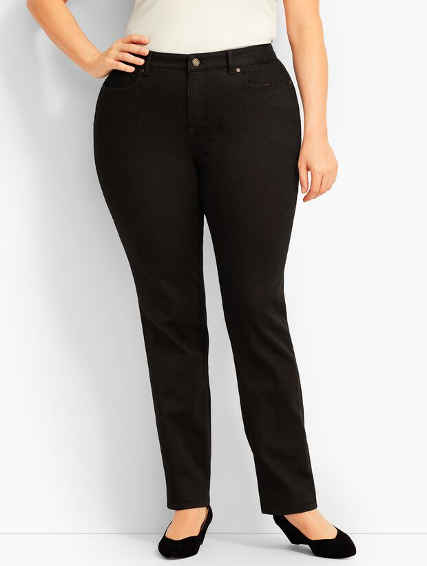 Plus Size High Waist Straight-Leg Jeans -Curvy Fit - Black