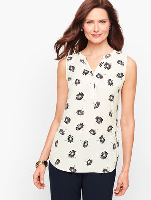Sleeveless Floral Cutaway Popover
