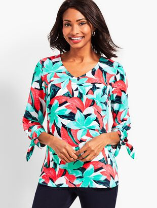 Tie-Sleeve Tropical Floral V-Neck Top