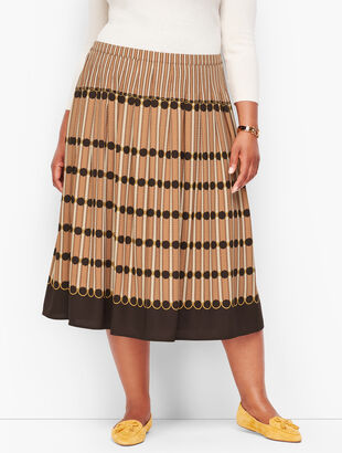 Stripe Pleated Midi Skirt