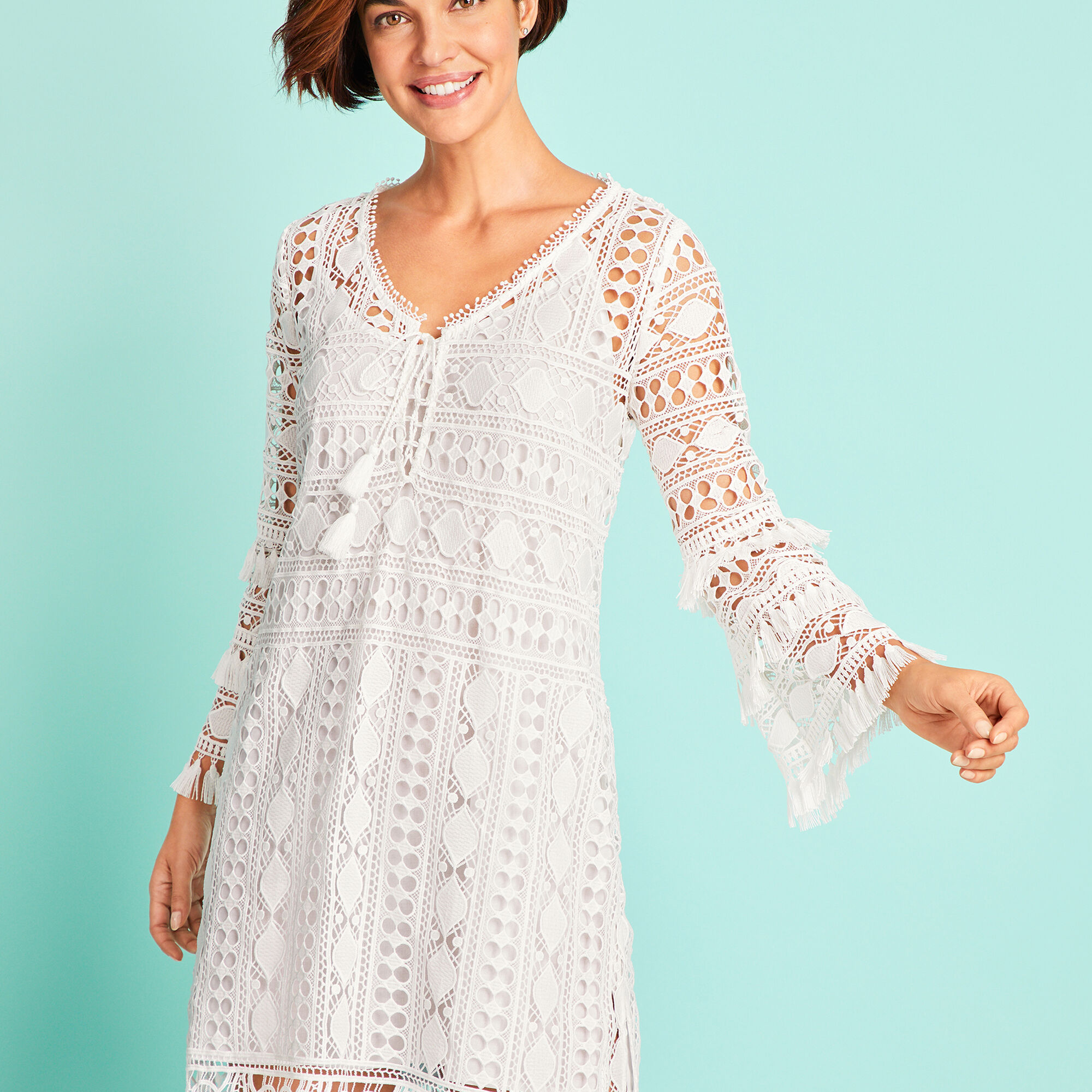 dc78177d21ade Bell-Sleeve Embroidered Lace Cover-up Opens a New Window.