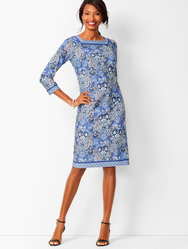Paisley Knit Jersey Shift Dress