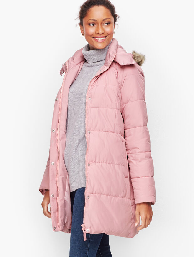 Down Alternative Puffer Coat With Faux Fur Hood by Talbots