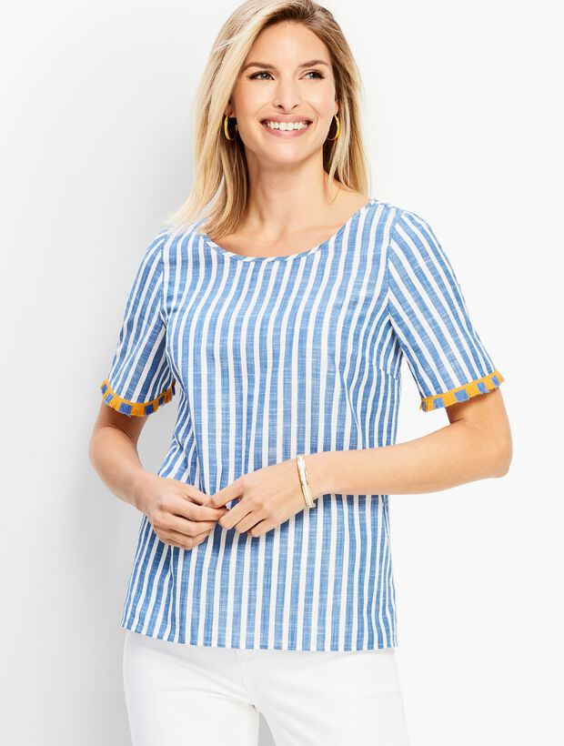 Pacific Stripe Fringe-Sleeve Top