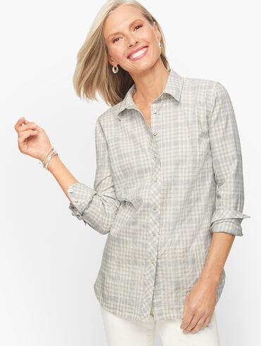 Plaid Metallic Button Front Shirt