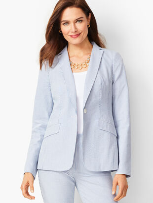 Lightweight Seersucker One-Button Blazer