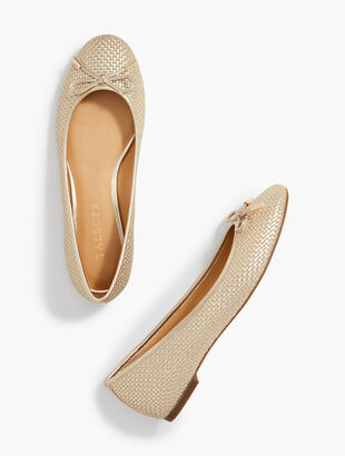 Olympia Textured Flats - Metallic