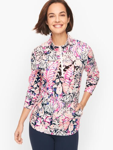 Half Zip Pullover - Abstract Foliage